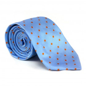 Krawatte Punkte Hellblau-Orange