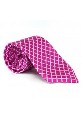 Krawatte Karo Pink-Weiß