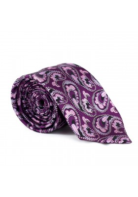 Krawatte Paisley Violett-Weiß