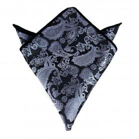 Einstecktuch Paisley Silber-Schwarz