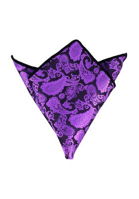Einstecktuch Paisley Violett-Schwarz