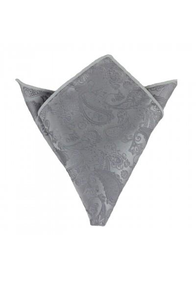 Einstecktuch Paisley Silber