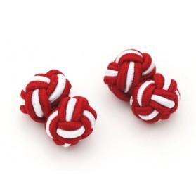 Manschettenknöpfe Seidenknoten Rot-Weiß
