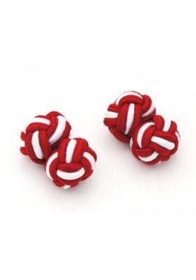 Manschettenknopf Seidenknoten rot-weiss