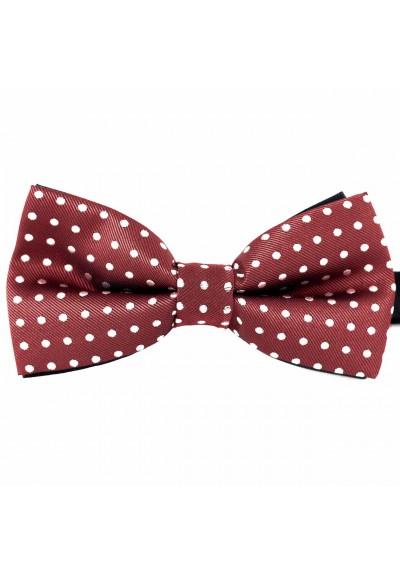 Dressed Fliege Bordeauxrot-Weiß gepunktet