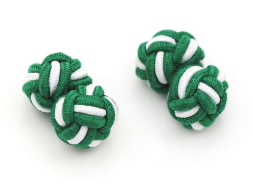 Manschettenknöpfe Seidenknoten Grün-Weiß