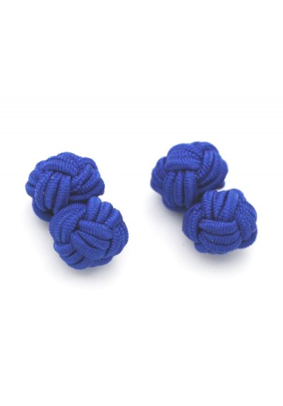 Manschettenknopf Seidenknoten Marineblau
