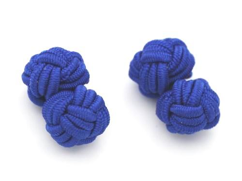 Manschettenknöpfe Seidenknoten Marineblau