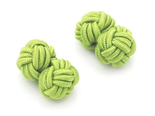 Manschettenknöpfe Seidenknoten Hellgrün