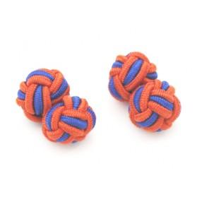 Manschettenknöpfe Seidenknoten Orange-Blau