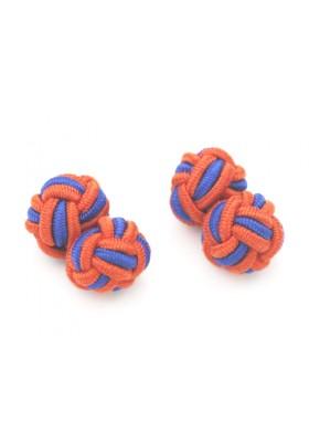 Manschettenknopf Seidenknoten Orange-Blau
