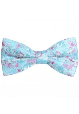Fliege Seide Pink-Hellblau Blumen