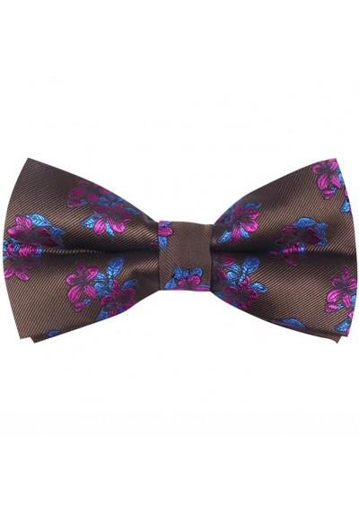 Fliege Seide Braun-Violett-Blau Blumen
