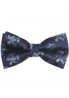 Fliege Seide Dunkelblau-Silber-Hellblau Blumen