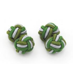 Manschettenknöpfe Seidenknoten Grün-Grau