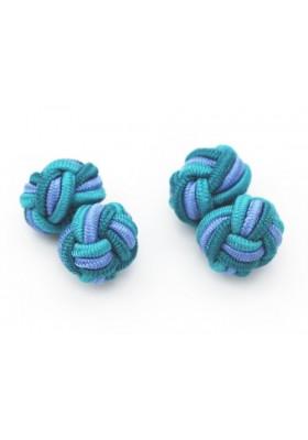 Manschettenknopf Seidenknoten Tuerkis-Hellblau