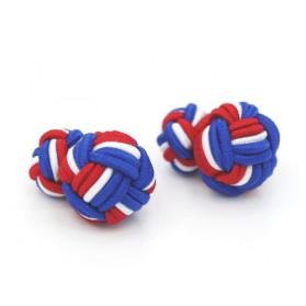 Manschettenknöpfe Seidenknoten Blau-Rot-Weiß