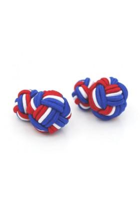 Manschettenknopf Seidenknoten Blau-Rot-Weiss